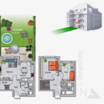 3 Zimmer Maisonette Gartenwohnung Affe Chemnitz