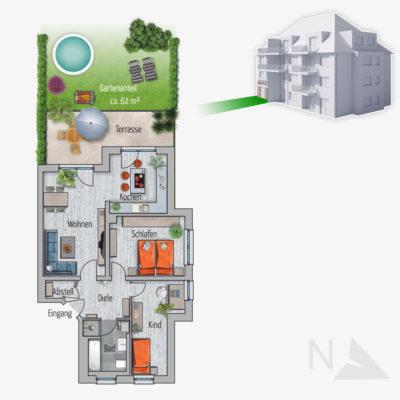 3 Zimmer Gartenwohnung Bison Chemnitz