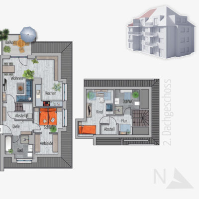 3 Zimmer Maisonette Wohnung Giraffe Chemnitz