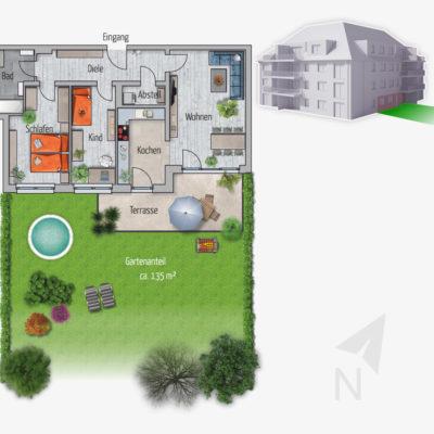 3 Zimmer Gartenwohnung Habicht Chemnitz