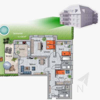 4 Zimmer Gartenwohnung Kranich Chemnitz