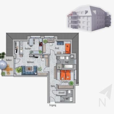 3 Zimmer Wohnung Leopard Chemnitz