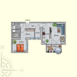 2 Zimmer Mietwohnung Deimos