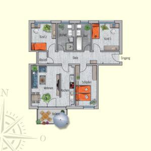 4 Zimmer Mietwohnung Saturn