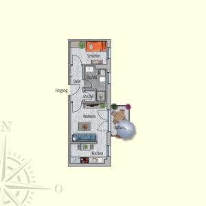 1,5 Zimmer Mietwohnung Tethys