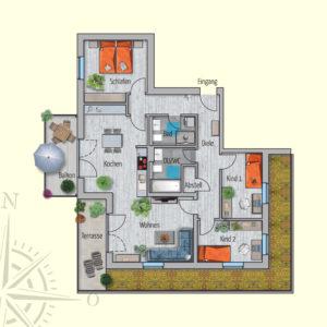 4 Zimmer Mietwohnung Titan