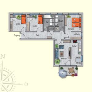 4 Zimmer Mietwohnung Uranus
