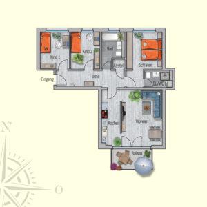 4 Zimmer Mietwohnung Amalthea