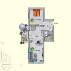 2 Zimmer Mietwohnung Galatea