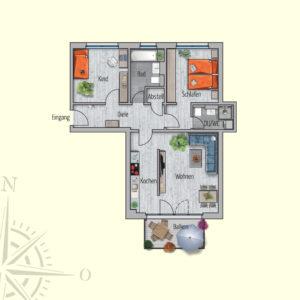 3 Zimmer Mietwohnung Neptun