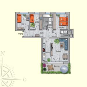 4 Zimmer Mietwohnung Triton