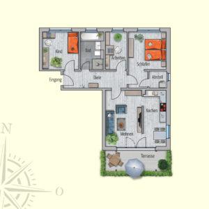 3,5 Zimmer Mietwohnung Venus